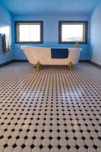 Black and white tile, color walls