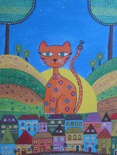 Piluca Soriano. Gato sobre los tejados. http://pilarsoriano.wordpress.com/mi-galeria/mis-naifs/