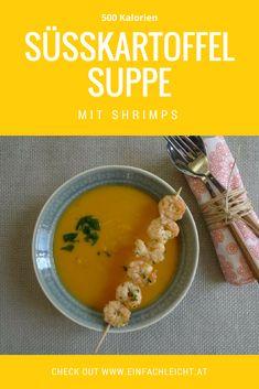 Mollige Suppe mit Süsskartoffel und Shrimps. Perfekt für kalte Wintertage! Cantaloupe, Lunch, Fruit, Winter, Food, Lunch Bags, Healthy Recipes, Eat Lunch, Essen