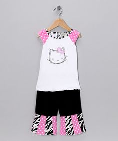 Take a look at this White Kitty Top & Black Ruffle Pants - Toddler & Girls by AnnLoren on today! Hello Kitty Clothes, Ruffle Pants, Black Ruffle, Stylish Girl, Black Tops, Girl Outfits, Summer Dresses, Toddler Girls, How To Wear