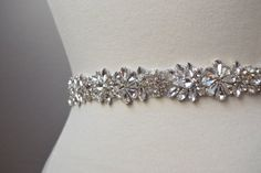 Full Length Crystal Rhinestone Bridal Belt by BridalBeltsandSashes