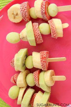 Frozen Fruit Kabobs Snack - Summer Themed Activities and Crafts for Kids - Fruit Kabobs, Fruit Snacks, Fruit Recipes, Cooking Recipes, Cooking Ideas, Snack Recipes, Summer Snacks, Summer Recipes, Health Foods