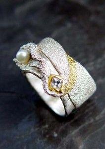 Organic Ring #21, fine silver precious metal clay...