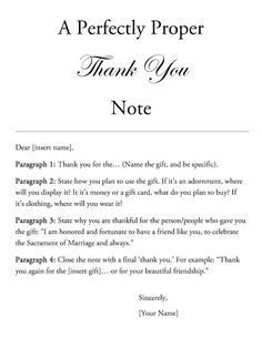How to write a thank you note printable tags outlines note and style horse a perfectly proper thank you note spiritdancerdesigns Image collections