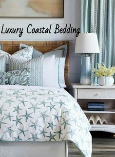 Escape to the sea with luxury bedding from Eastern Accents. Coastal theme bedding that is gorgeous and high quality. Featured on Completely Coastal. There are many sea, beach and coastal inspired patterns and colors to choose from to create your slice of paradise and the perfect bedroom retreat for you. Coastal Bedding, Coastal Bedrooms, Coastal Decor, Luxury Bedding, Bedroom Retreat, Bedroom Bed, Eastern Accents, Design Inspiration, Design Ideas