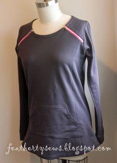 Featherty Sews: Hope springs eternal - free sweatshirt pattern diagonal zips at shoulders, princess seams Sewing Patterns Free, Free Sewing, Sewing Tutorials, Clothing Patterns, Sewing Ideas, Diy Clothing, Sewing Clothes, Sport Clothing, Shirts & Tops