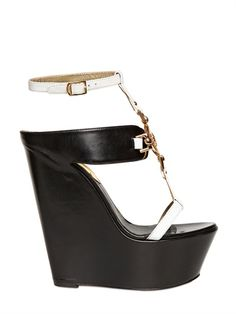 DSQUARED - 150MM TWO TONE LEATHER WEDGES - LUISAVIAROMA - LUXURY SHOPPING WORLDWIDE SHIPPING - FLORENCE
