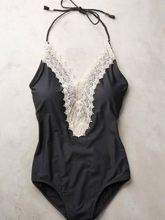 Black Halter V-neck Lace Trim One-piece Swimsuit