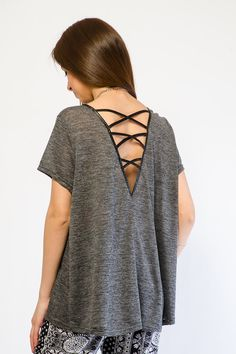 FAUX LEATHER TRIM CAGED BACK TOP $9.99