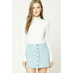 Forever21 Button-Front Denim Mini Skirt