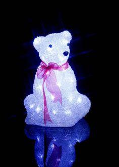 LED Eisbär aus Acryl für den Außenbereich, 40 kaltweiße LEDs