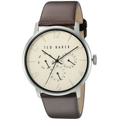 Ted Baker Classic Collection Custom Multifunction Sub-Eye w/ Contrast... ($155) ❤ liked on Polyvore featuring men's fashion, men's jewelry, men's watches, mens stainless steel watches, mens leather strap watches and mens analog watches