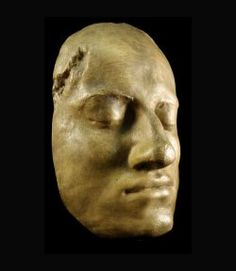 Death mask of Charles XII, King of Sweden.   killed in battle (the bullet's entry is visible above his right brow).