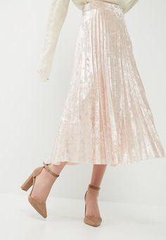 81dbab9d4c1 Velvet pleated midi skirt - dusty pink dailyfriday Skirts