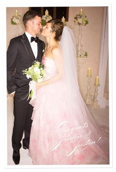 So cute together!! Justin Timberlake & Jessica Biel  so neat that she wore a pink tone wedding gown!