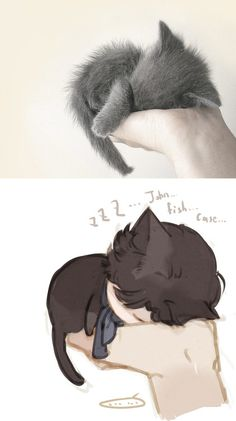 """Your hand, so warm"" JohnLock_CAT!Sherlock by sevnilock 6TH OCT 2012"