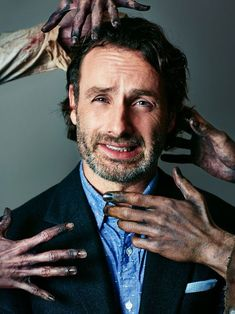 This face is priceless! Outtakes from Andrew Lincoln and Norman Reedus cover photo shoot <3