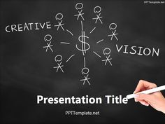 050327ad164 Free Creative Vision Chalk Hand Black PPT Template Business Ppt Templates
