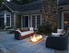 Backyard Gas Fire Feature, Fire Trough  Fire Pit  Beechwood Landscape Architecture & Construction  Southampton, NJ