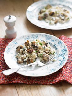 This indulgent mushroom and blue cheese risotto recipe makes an ideal vegetarian main course.