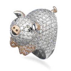 Rhodium Plated Cz Piggy Ring