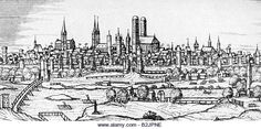 Copy of 1572 Hoefnagel engraving of Munich viewed from the east