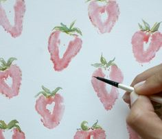 Make a print with strawberries and watercolors... so cool!
