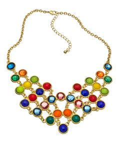 Blu Bijoux Multicolor and Gold Chain Bib Necklace