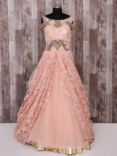 Beautiful Net Gown with hand embroidery embellishment. Designer Party Wear Dresses, Indian Designer Outfits, Designer Gowns, Designer Wear, Gown Party Wear, Party Wear Lehenga, Shadi Dresses, Indian Gowns Dresses, Gown Pattern