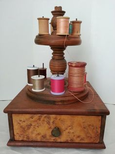 Antique Sewing Caddy w/ Spool Holder / Exotic Wood by 007ALVAGE