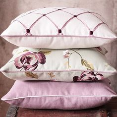 Designer White and Lilac Pillow  Clarke & Clarke by emeisonCOM