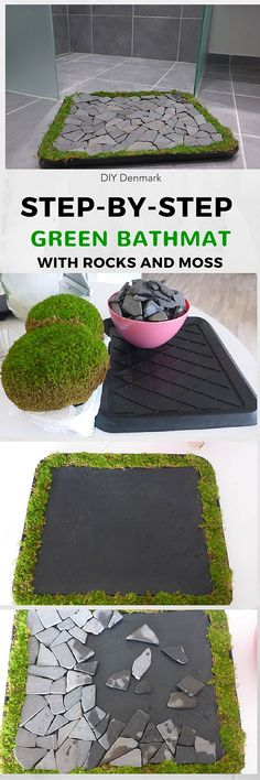 Redoing My Room Make this really cool bathmat for your bathroom with (tile) rocks and moss. See…