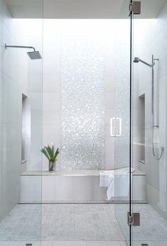 Lucente 12 x 12 Glass Stone Blend Circle Mosaic Tile in Ambrato bathroom tile ideas 748793875530682413 Small Bathroom With Shower, White Bathroom, Minimal Bathroom, Shower Niche, Marble Bathrooms, Bathroom Showers, Bathroom Mirrors, Bathroom Cabinets, Small Bathrooms