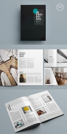 Searching for modern InDesign business proposal templates? We've got ya all covered. I bet you'll find something to suit your needs or those of your client. Template Brochure, Design Brochure, Booklet Design, Indesign Templates, Brochure Layout, Corporate Brochure, Booklet Layout, Layout Book, Corporate Design