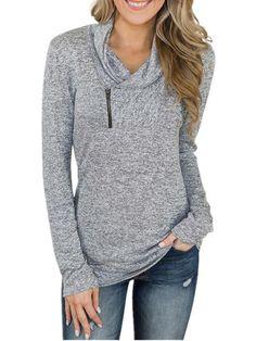 ExtremeRebate--KIRUNDO 2019 Winter Women's Long Sleeves Pullover Zipper Cowl Neck Tops Solid Color Sporty Sweatshirts Style Blogger, Cowl Neck Top, Pulls, Long Sleeve Tops, Leggings, Sleeves, Winter, Clothes, Sweatshirt Tunic