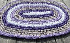 Light Purple Edge Oval Rag Rug 010114 by Kimsrugs on Etsy, $25.00