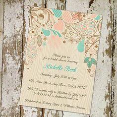 Romantic rustic bridal shower invitation  by ElegantWeddingInvite