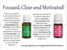 Essential oils - focus and mental clarity FB Page: Young Living with Mrs. Clarity Essential Oil, Natural Essential Oils, Essential Oil Blends, Natural Oils, Young Living Oils, Young Living Essential Oils, Living Essentials, Motivation Cleaning, Independent Distributor