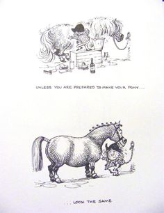 Funny Thelwell Vintage Art Print Riding Academy  Horse Pony Children Equitation Free S #Vintage