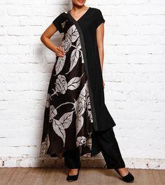 Black & White Batik Asymmetrical Bias Dress With Quilting Patch