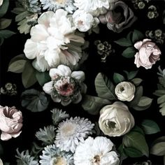 So beautiful and atmospheric.  Dark Floral Sample - Floral Wallpaper Samples - by Ellie Cashman Design