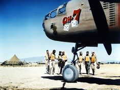 North American B-25 crew ready for take-off from a base in North Africa.