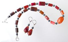 Dragon Veins Agate Necklace with Earrings Jewelry Set by LKArtChic