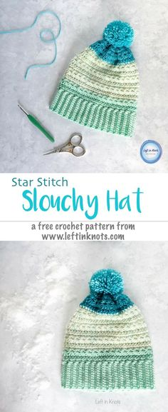 Snow Drops Slouch Hat Free Crochet Pattern — Left in Knots Crochet Beanie Pattern, Loom Knitting Patterns, Crochet Shawl, Crochet Yarn, Free Crochet, Crochet Patterns, Knitting Tutorials, Crochet Granny, Stitch Patterns