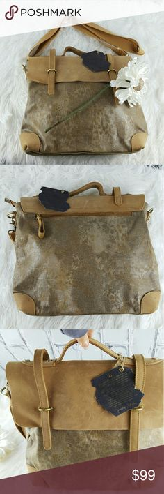 """SALE Anthropologie Taupe Messenger Bag Awesome NWT Anthropologie Taupe Messenger Bag 16"""" x 14"""" Separate Sections with Zippered section in center making it 3 separate sections plus Zippered pocket. Brushed Leather and Canvas with leather straps Adorable!!! Anthropologie Bags"""