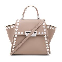 Eartha iconic top handle stud bag by Zac Zac Posen. Leather exterior and lining. Flap top with fold over clasp closure. Nude Shoulder Bags, Shoulder Strap, Studded Bag, Crossbody Messenger Bag, Zac Posen, Tote Handbags, Bag Accessories, Purses And Bags, Leather
