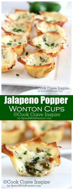 May 2016 - Jalapeno Popper Wonton Cups! This easy and yummy appetizer is the perfect bite. creamy, cheesy, spicy and crispy! Crispy wonton cups filled with jalapenos and cheese! Wonton Appetizers, Wonton Recipes, Finger Food Appetizers, Appetizers For Party, Appetizer Recipes, Jalapeno Recipes, Italian Appetizers, Recipes With Jalapenos, Mexican Appetizers Easy