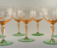 Vintage Watermelon Depression Glass Wine Glasses Set of por TidBitz