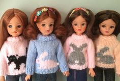 Sindy hand knitted jumpers Barbie Outfits, Barbie Dress, Barbie Clothes, Tammy Doll, Sindy Doll, Knit Wear, Crochet Doll Clothes, Vintage Dolls, Doll Patterns