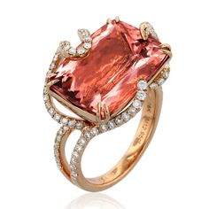 Rose Water - Morganite 18k rose gold diamond ring---  18k rose gold ring is set with a 12.95 ct. morganite enclosed by a wave of 0.77 ct. t.w. round-cut diamonds, from the Lyra collection.      SKU 06525     Brand Yael Designs     MSRP $9,450.00
